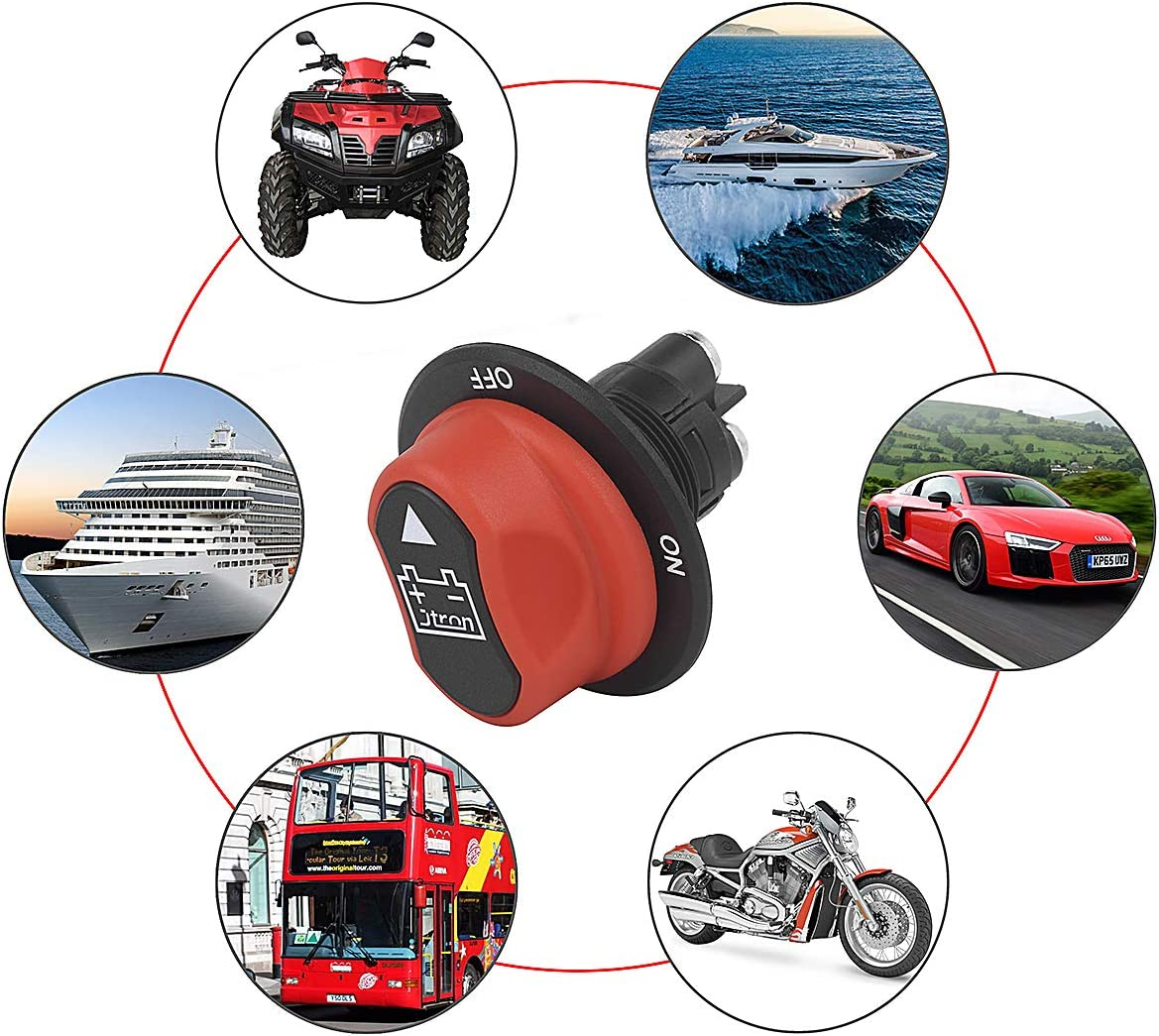 BONATECH Black Brass Battery Isolator ON Off Kill Switches Car Race Rally Switches for Motorcycles Cars Boats