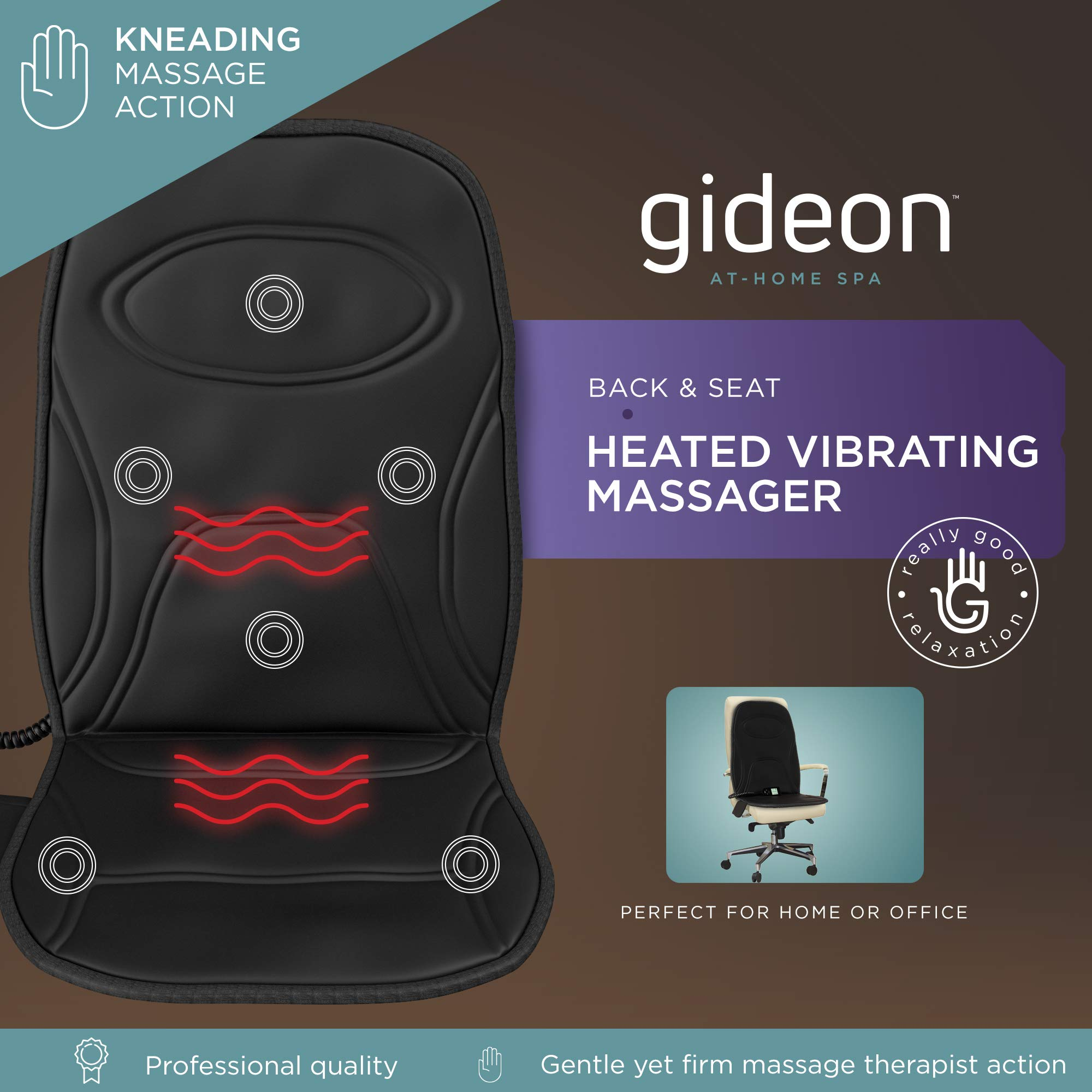 Gideon Powerful Vibrating Massager Seat Cushion for Back, Shoulder and Thighs with Heat Therapy / 8-Massaging Programs - Massage, Relax, Sooth and Relieve Thigh, Shoulder and Back Pain