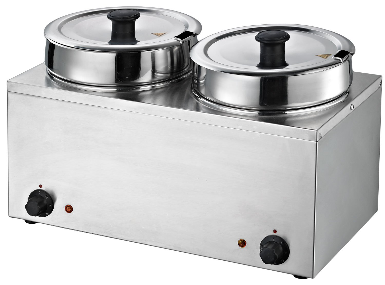 Chef's Supreme - Dual 7 qt. Round Well Stainless Food Warmer w/Inserts and Lids, Each