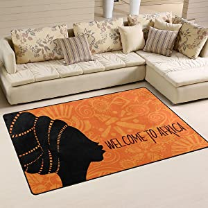 Yochoice Non-slip Area Rugs Home Decor, African Beautiful Ethnic Dancing Woman Floor Mat Living Room Bedroom Carpets Doormats 31 x 20 inches