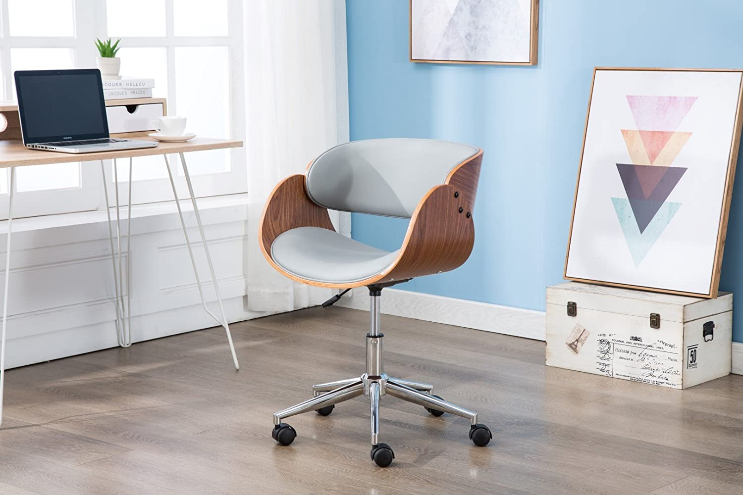 Porthos Home SKC016A Gry Lydia Stylish Home Desk, Height Adjustable, 360 Swivel, with Caster Wheels Unique Luxury Designer Office Chairs Size 21 x 32, Gray