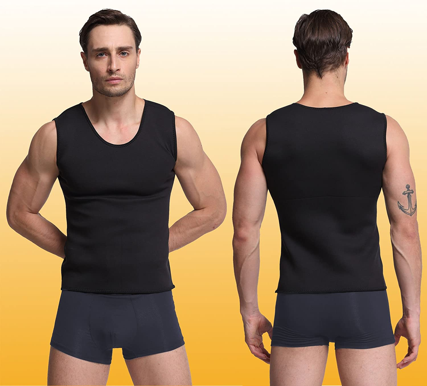 Glamours Mens Body Shaper Vest Slimming Sweat Tummy Fat Burner Tank Top for Weight Loss