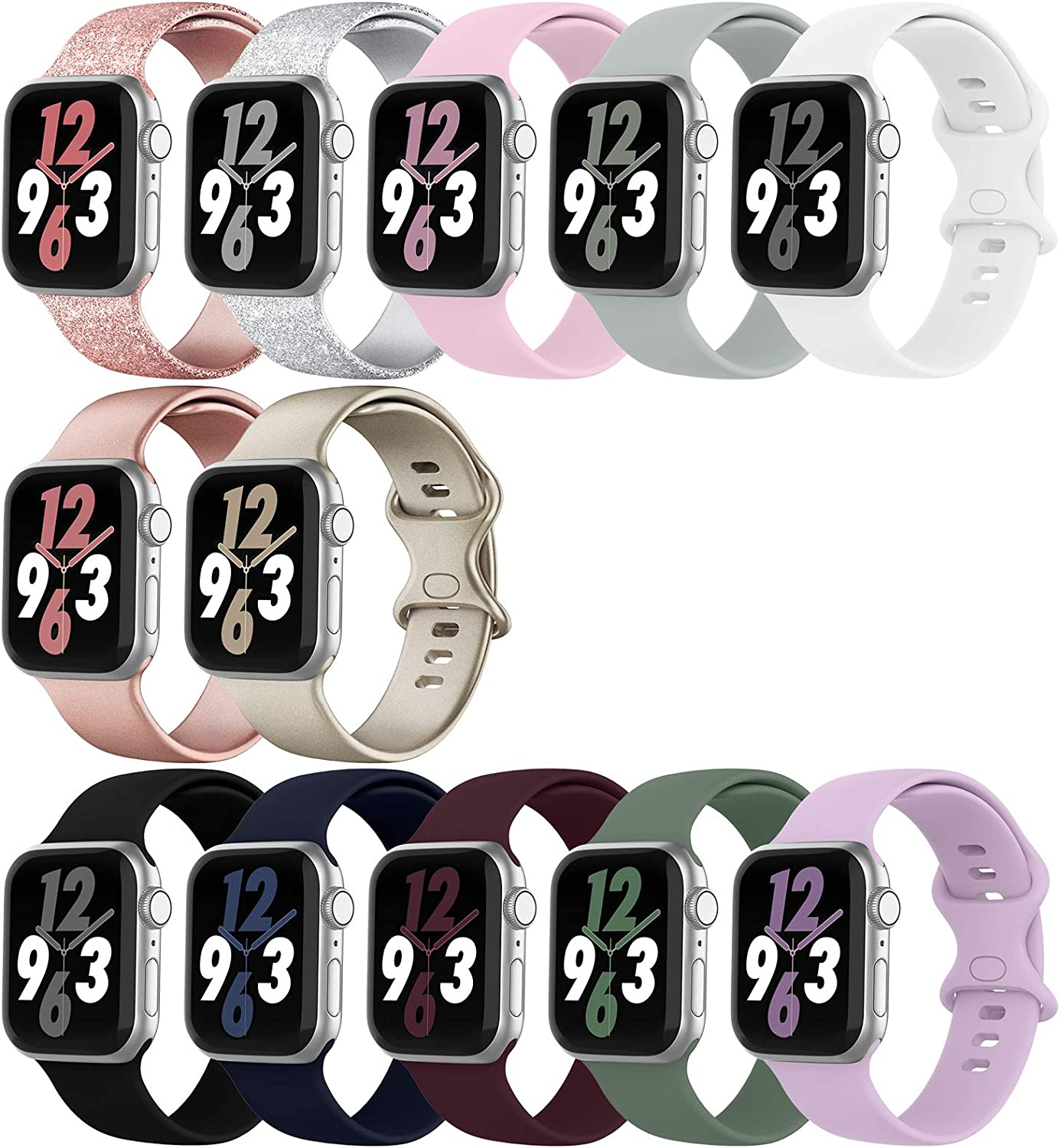 WASPO 12 Pack Compatible with Apple Watch Band 38mm 42mm 40mm 44mm, Soft Silicone Sport Bands Strap Compatible with iWatch Series 6/5/4/3/2/1 SE (38mm/40mm-S/M)