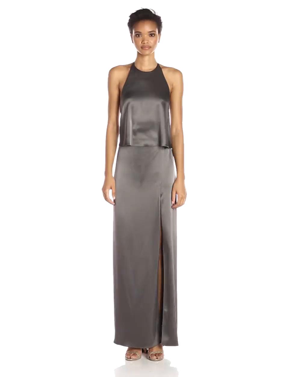 Amazon.com: Halston Heritage Women\'s Halter Neck Slip Dress with Low ...