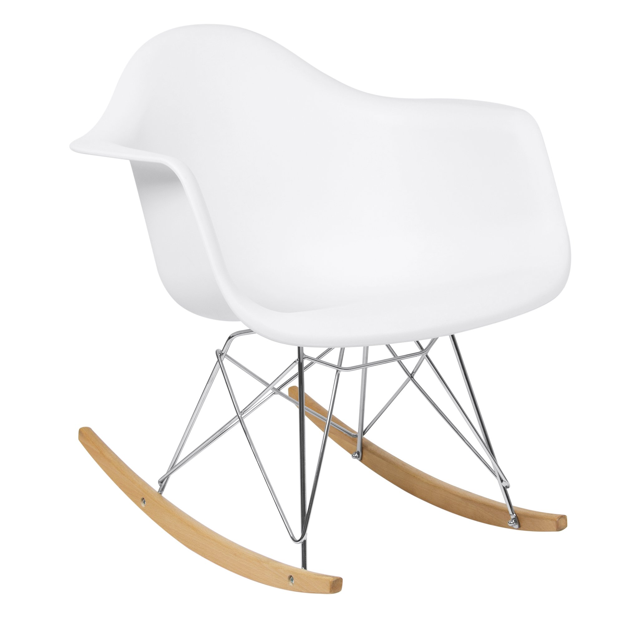 Best Choice Products Living Room Mid-Century Modern Eames Style Accent Rocking Arm Chair Home Furniture - White