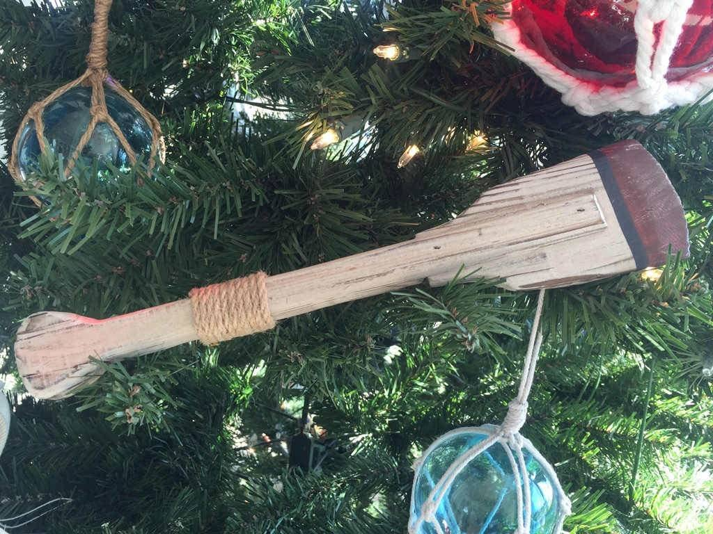 Canoe Paddle Christmas Holiday Ornament