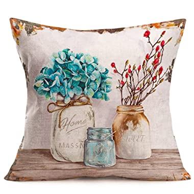 Royalours Beautiful Flowers Vintage Vase Printed Cotton Linen Rustic Wooden Decorative Throw Waist Lumbar Pillow Case Cushion Cover for Sofa Chair 18  X 18  (Rustic Floral-2)