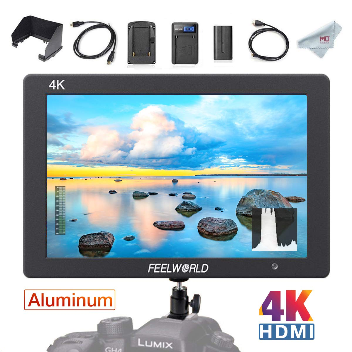 FEELWORLD T7 7 Inch 4K HDMI Camera Field Monitor and Battery Kit, Full HD 1920 x 1200 IPS Aluminum Video Assist for DSLR by FEELWORLD