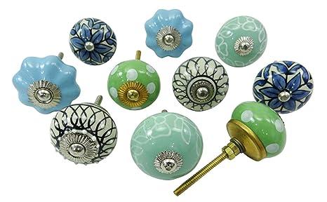 Pomelli vintage in ceramica dipinti a mano, per cassetti della cucina e  armadi Multicolour (Design#1)