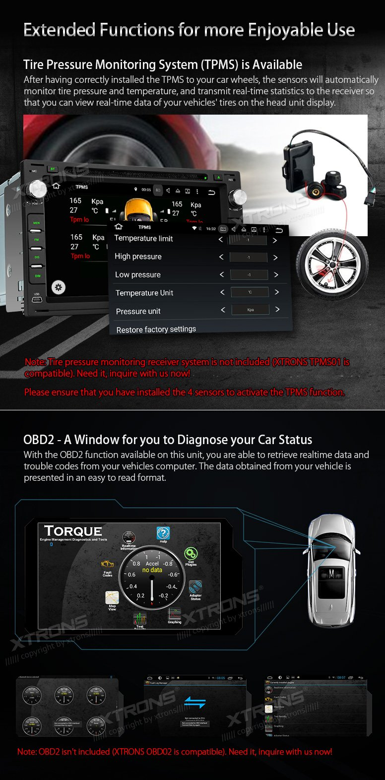 XTRONS Android 6.0 Octa-Core 64Bit 7 Inch Capacitive Touch Screen Car Stereo Radio DVD Player GPS CANbus Screen Mirroring Function OBD2 Tire Pressure Monitoring for VW Passat B5 MK3/4/5 by XTRONS (Image #8)