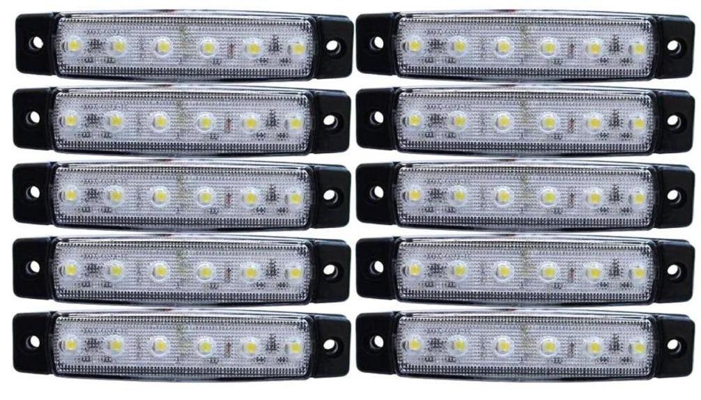 10 luces LED de señalización lateral, de 24 V, blancas, ideal para camiones, tráilers, caravanas: Amazon.es: Coche y moto