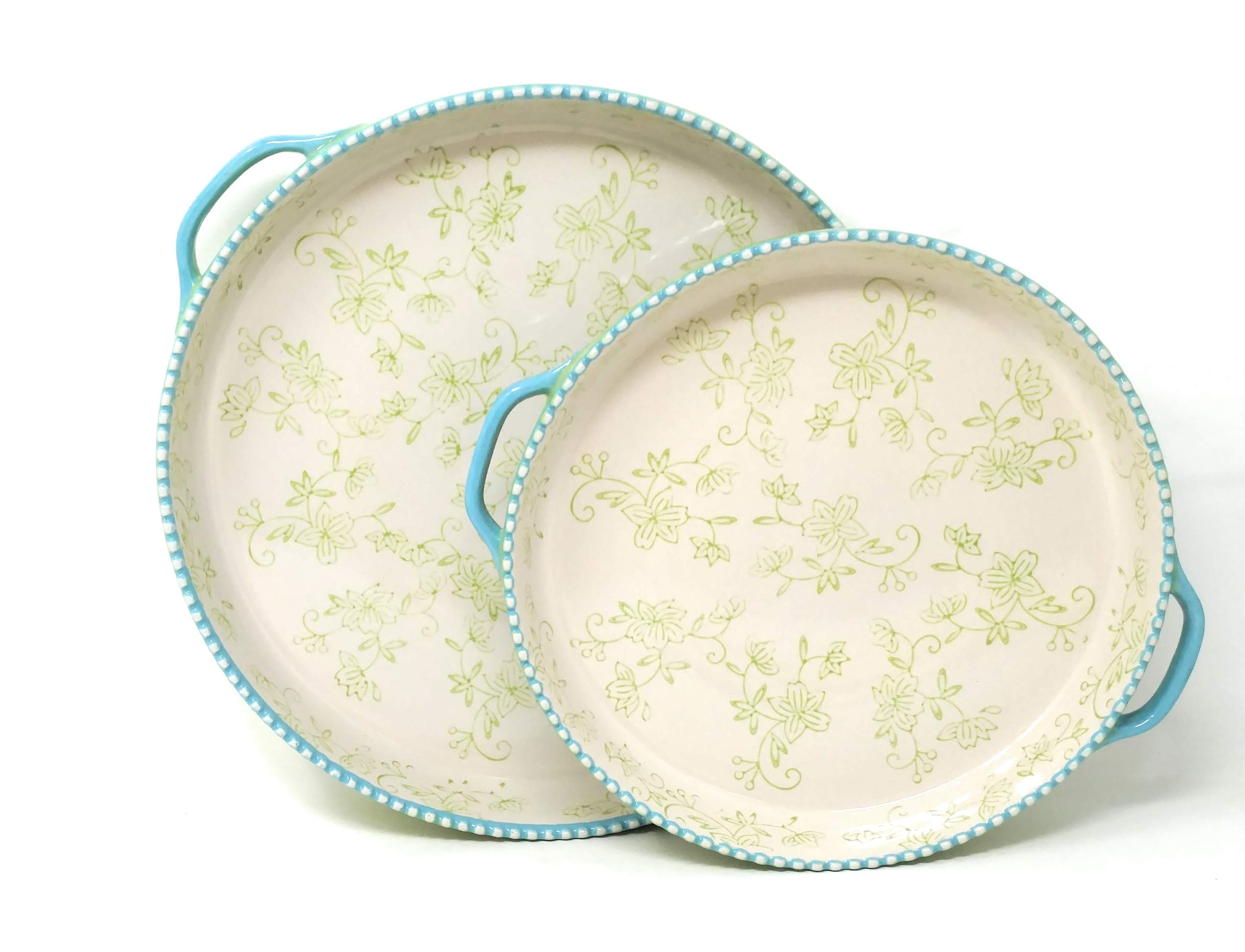 Temp-tations 11'' & 9'' Shallow Baker Pie Pan/Deep Dish Pizza, Set of 2 (Floral Lace Lime)
