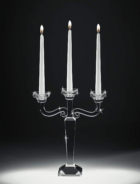 Mazzola Luce Candelabro 3 Fiamme In Vetro Cristallo Trasparente Alta Qualita Ranoldi Amazon It Casa E Cucina
