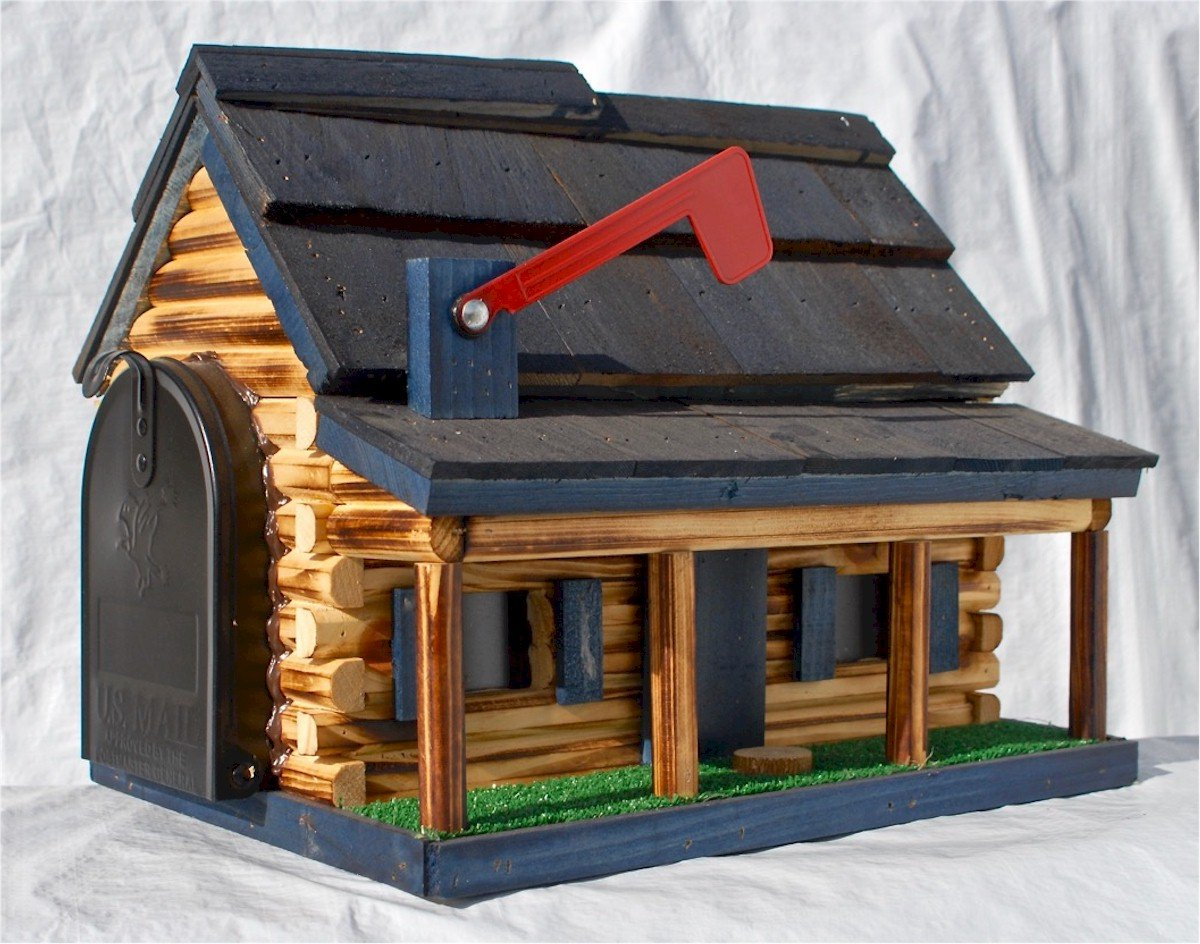 Log Cabin with Porch Wooden Mailbox Blue Amish Made in USA by AmishShop.com