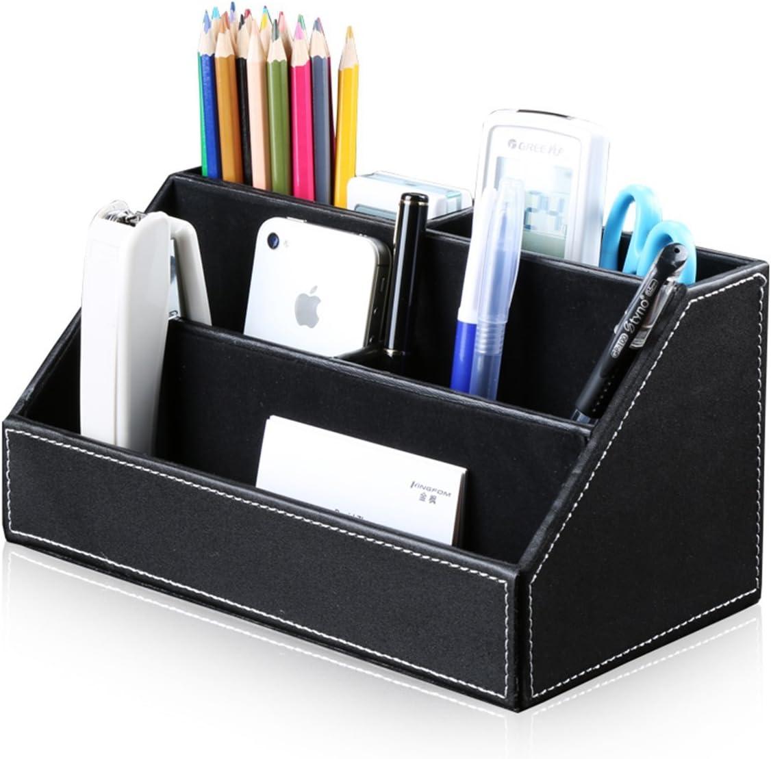 Stifthalter mit Visitenkartenhalter und Zettelbox T41-4-Schwarz Mauspad KINGFOM 4pcs Leder b/üro Schreibtisch Set-- Inklusive Schreibtisch Organisator