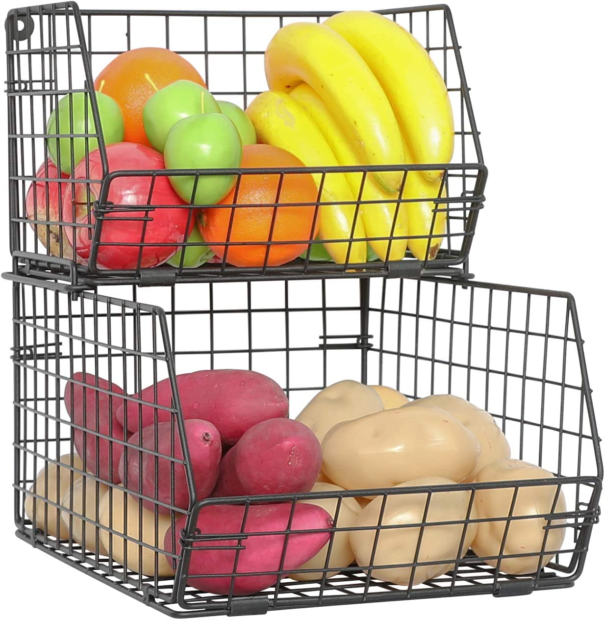 X-cosrack Fruit and Vegetable Basket,2-Tier Wall-mounted & Countertop Tiered Baskets for Potato Onion Storage,Stackable Kitchen Wire Storage Baskets for Fruit Veggies Produce Snack Canned Foods