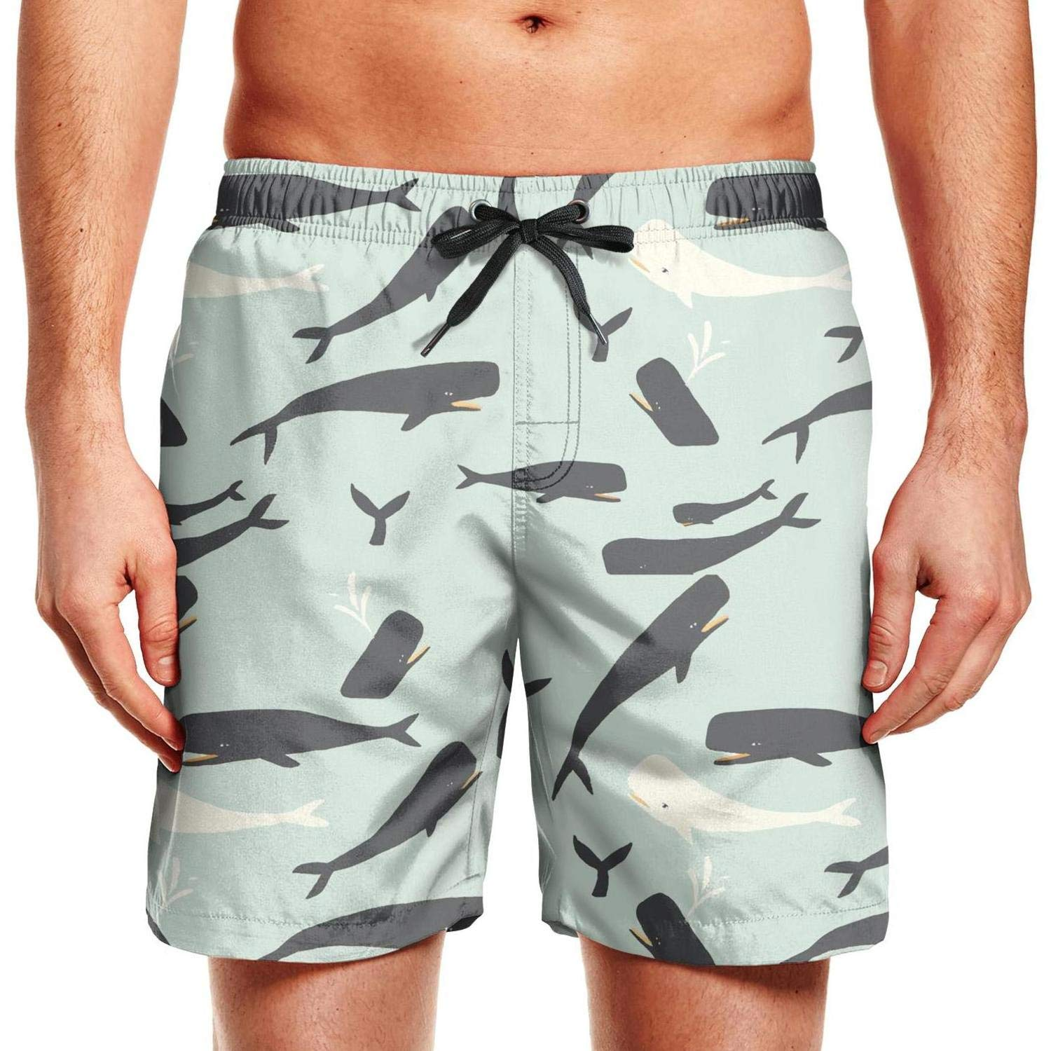 Watercolor Blue Whale Silhouette Mens Boardshorts Outdoor Casual Sport Board Shorts