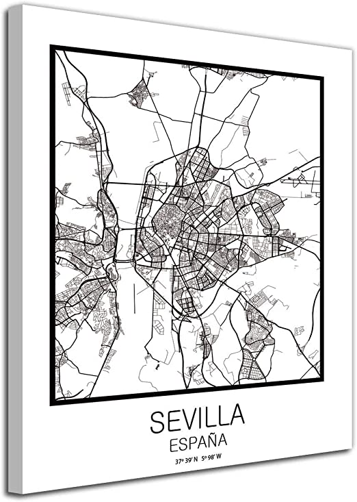 Foto Canvas Cuadro Mapa Sevilla España en Lienzo Canvas Impreso ...