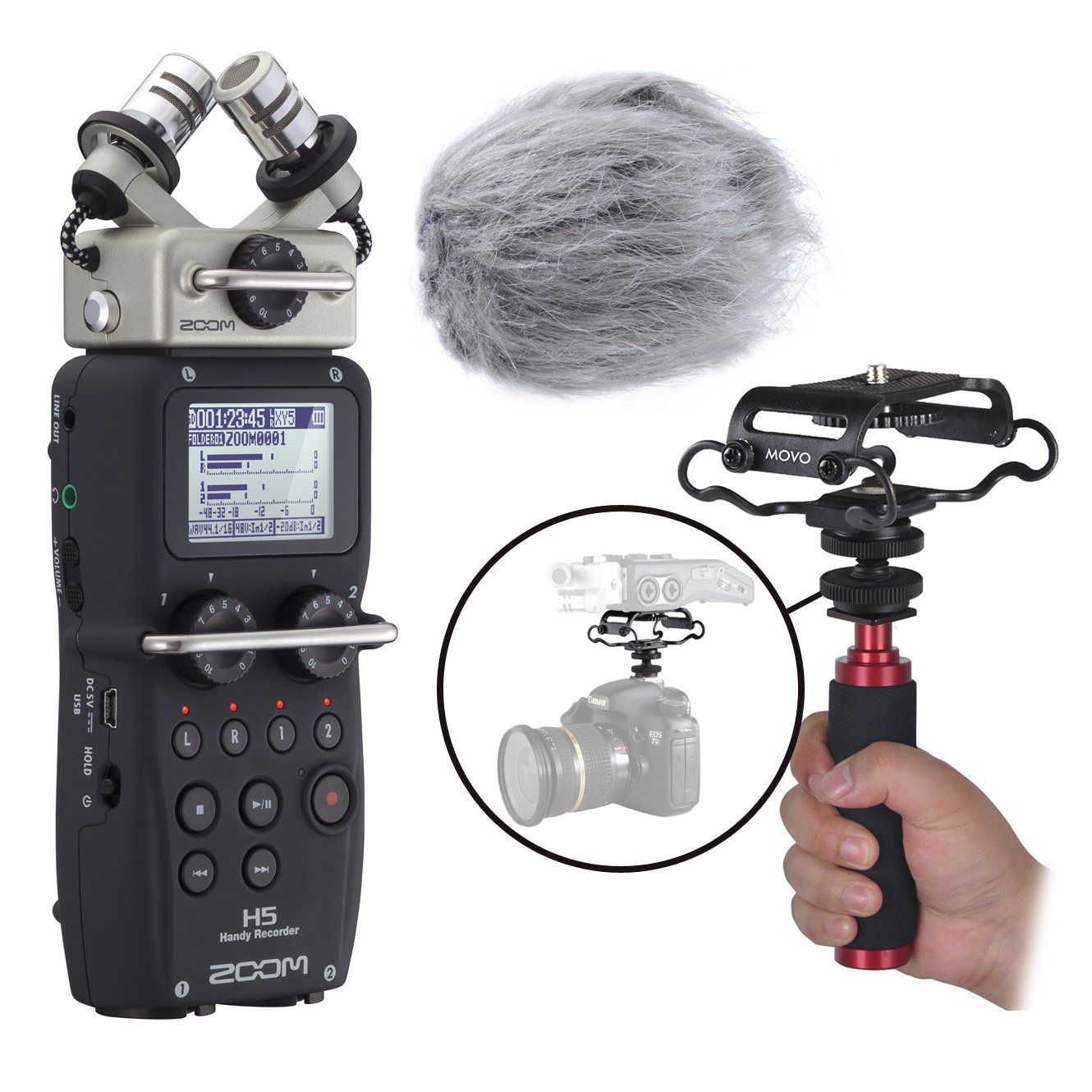 Zoom H5 Four-Track Handy Recorder Kit with Deadcat Windscreen, Shockmount, Camera Mount and Mic Grip by Movo (Image #1)