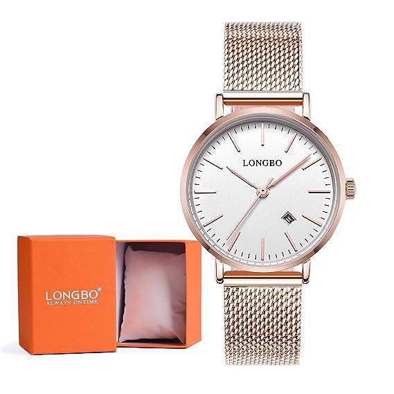 leibin Simple moda lujo las mujeres relojes oro rosa hembra Ultra Thin correa de Milán de acero inoxidable pareja relojes analógico cuarzo negocio reloj de ...