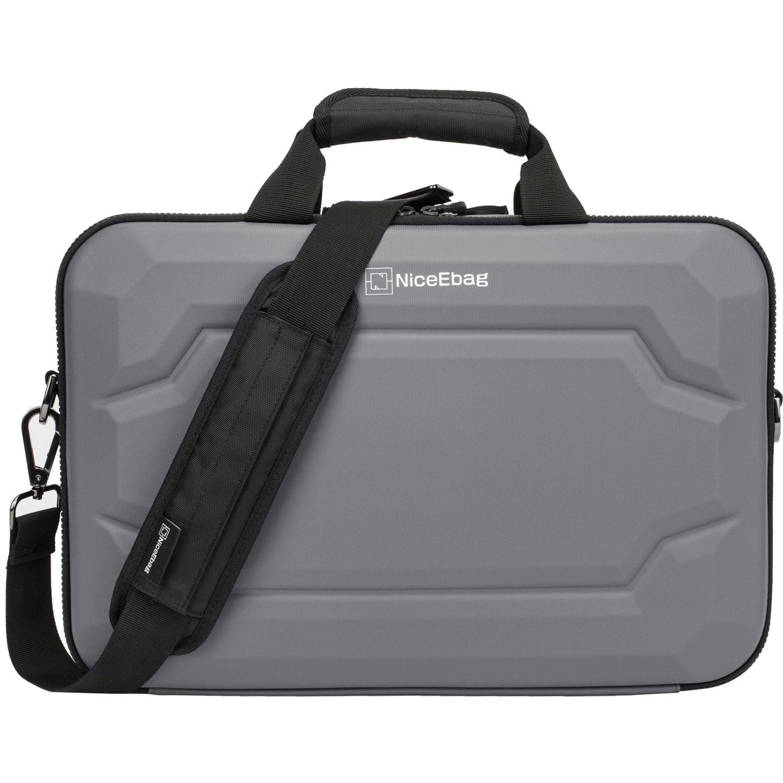 NiceEbag 17.3 Inch Rugged Armor Laptop Briefcase Messenger Bag with Rainproof Resilient Shock Absorption and EVA Design For Macbook / Acer / HP / Dell / Lenovo / Men Women with Shoulder Strap, Grey