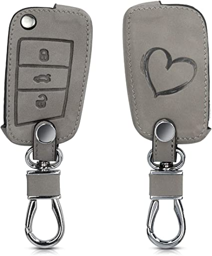 Heavy Duty PU Leather Protective Key Fob Cover for Kia 3 Button Car Key Smart Key kwmobile Car Key Cover for Kia Black