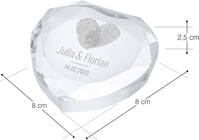 Presse Papier avec Bo/îte Motif Empreintes Digitales Casa Vivente C/œur en Cristal de Verre avec Gravure Personnalis/ée 2 Noms et 1 Date