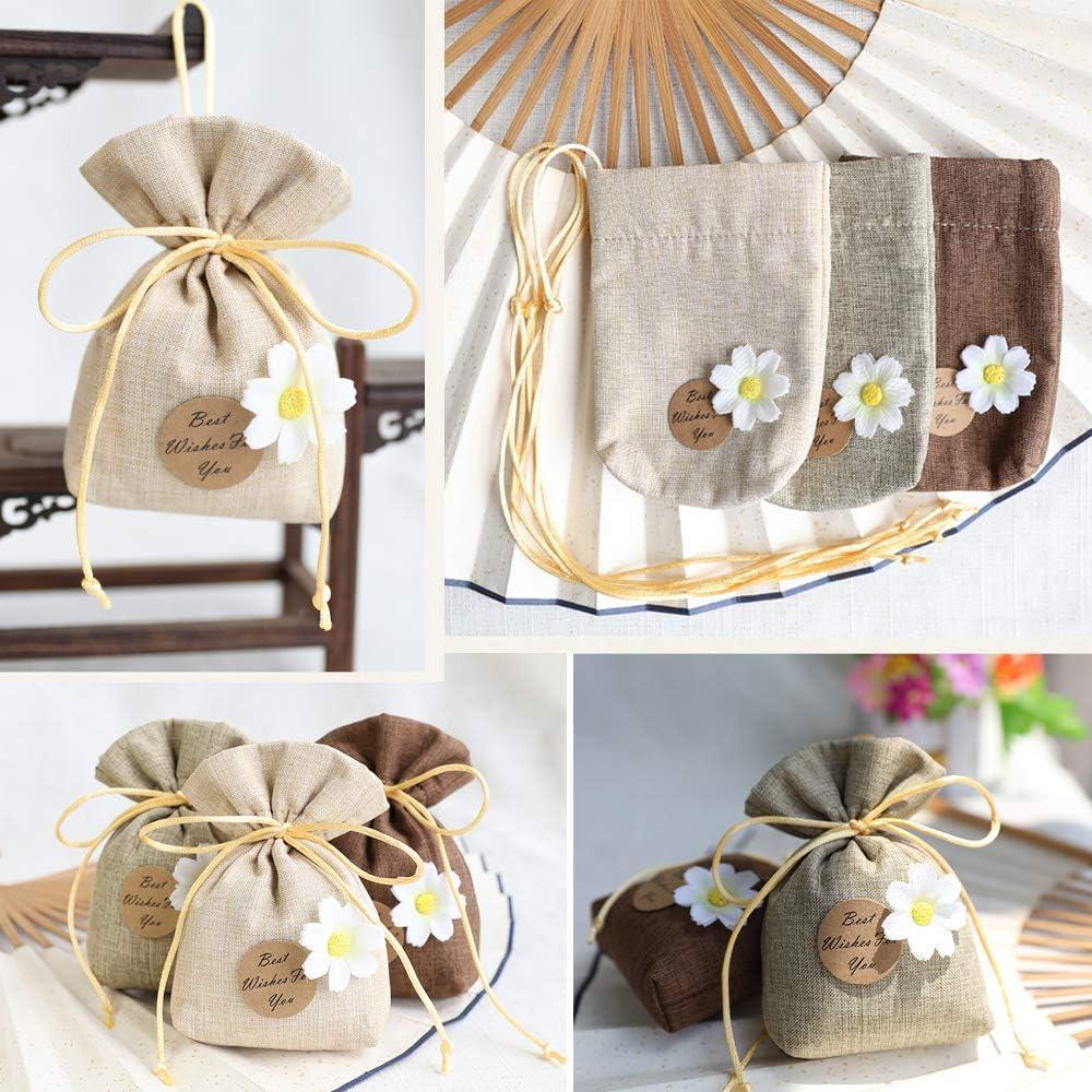 BUONDAC Lot de 24pcs Sachet Drag/ée comme Jute Pochette Toile Chanvre Sac Poche Bijoux Bonbon Chocolat Cadeau Faveur Invit/és D/écoration Mariage Bapt/ême F/ête F, 9.5 * 14 * 2cm avec Cordon