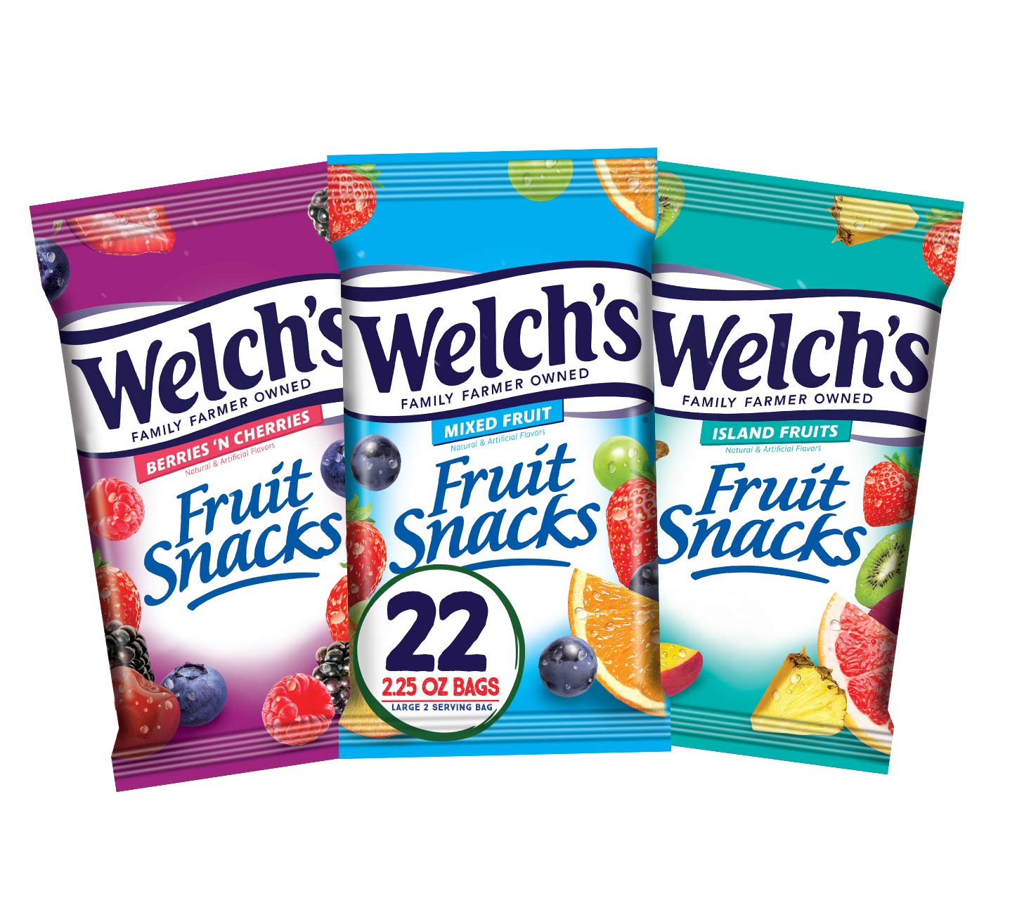 Welch's Fruit Snacks, Variety Pack with Mixed Fruit, Island Fruits & Berries 'n Cherries, Gluten Free, 2.25 oz Bags (Pack of 22)