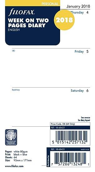 Filofax - Agenda personal (año 2018, 1 semana en 2 páginas) [puede estar en inglés]