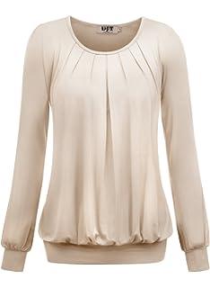 b0ae12c2e0b4 CHIGANT Damen Langarmshirt Elegant Casual Oberteile Drapiert Basic ...