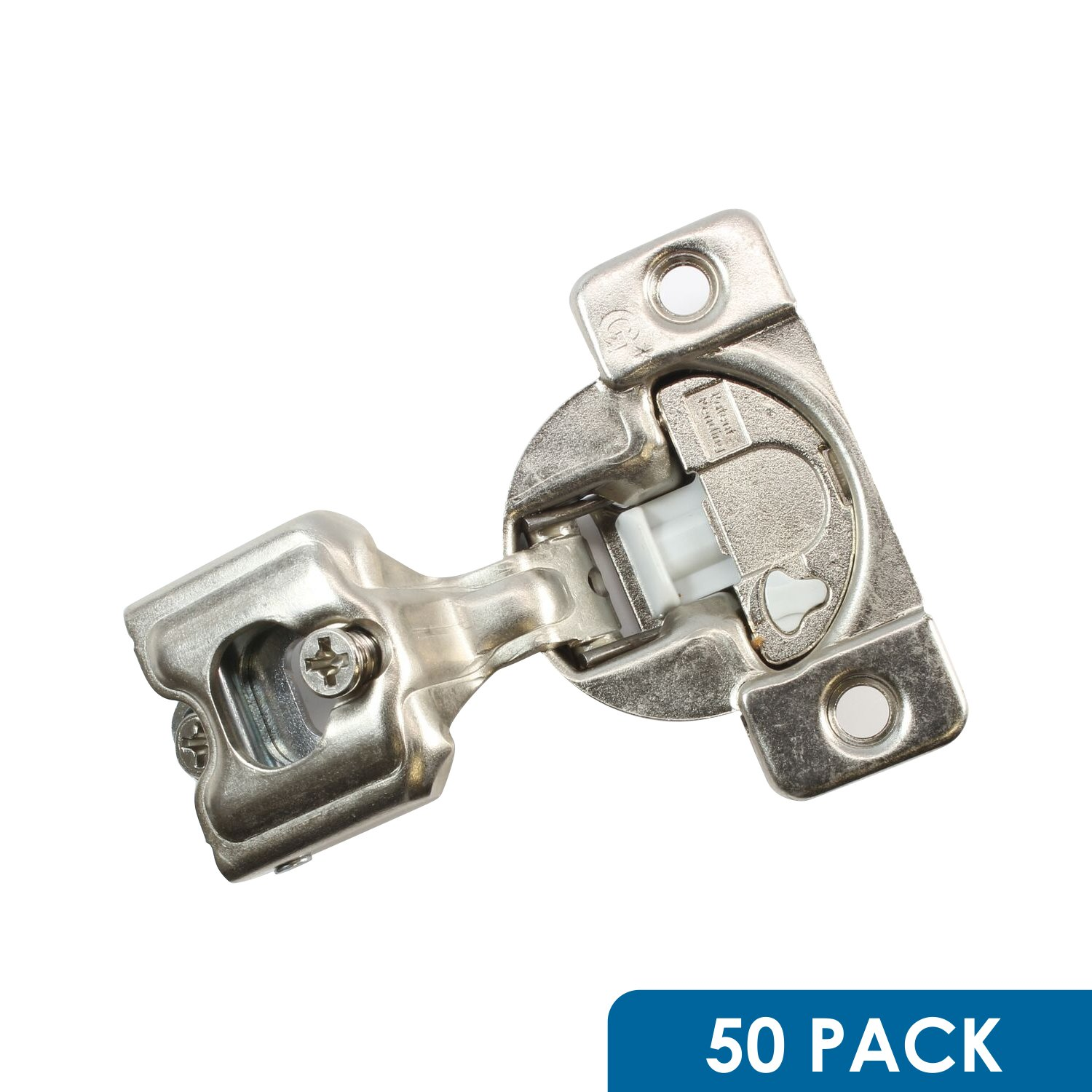 50 Pack Rok Hardware Grass TEC 864 108 Degree 1'' Overlay 3 Level Soft Close Screw On Compact Cabinet Hinge 04441A-15 3-Way Adjustment 45mm Boring Pattern