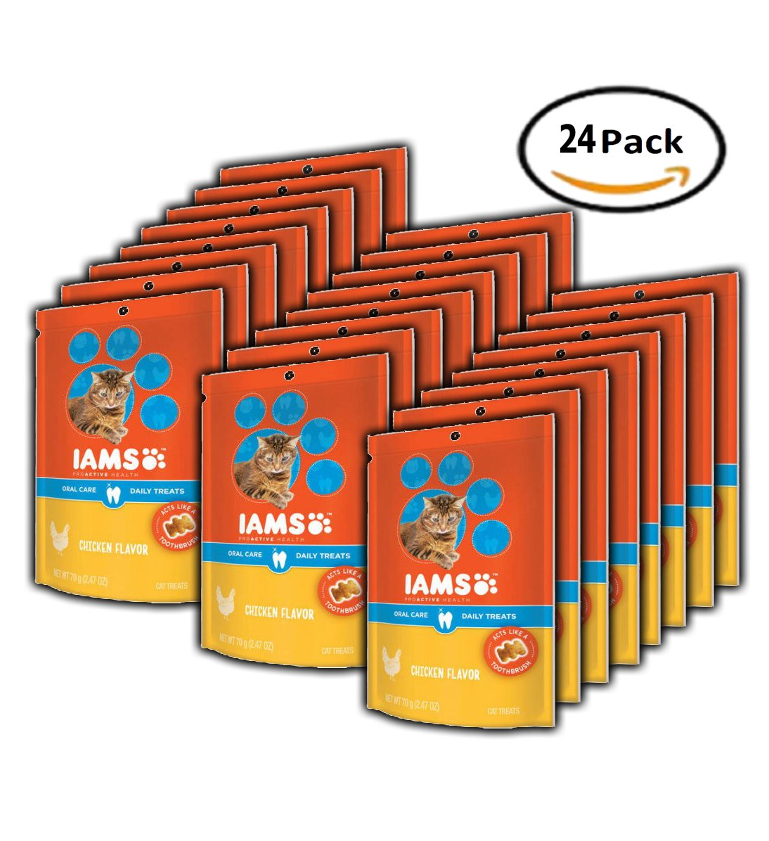 PACK OF 24 - IAMS PROACTIVE HEALTH Oral Care Daily Treats for Cats Chicken Flavor 2.47 Ounces