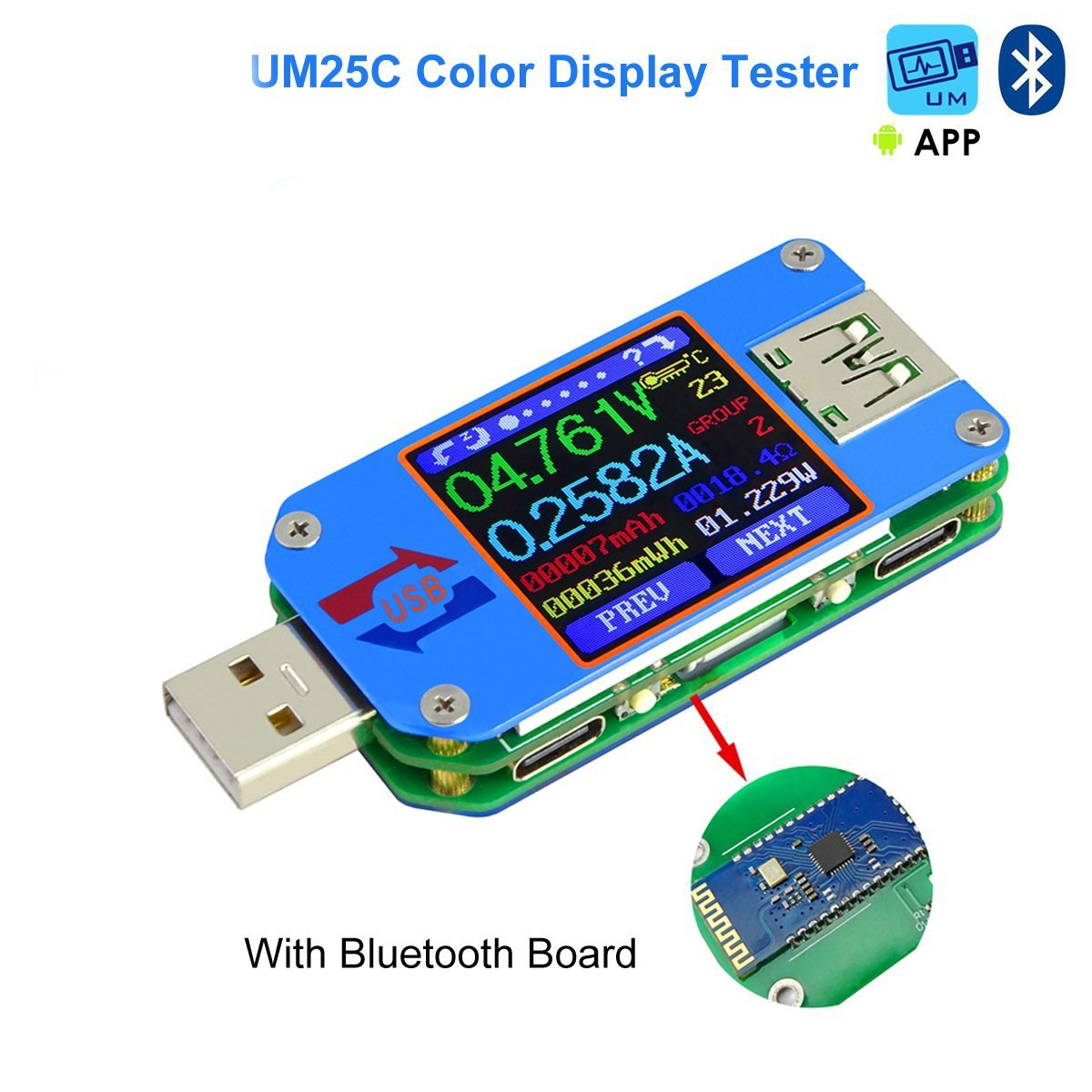 UM25C USB Meter Tester Voltage Current Bluetooth Battery Power Charger Voltmeter Ammeter Multimeter Tester, 1.44 Inch Color LCD Display USB 2.0 Type- C Cable Resistance Load Impedance Meter by Flight-sky (Image #1)