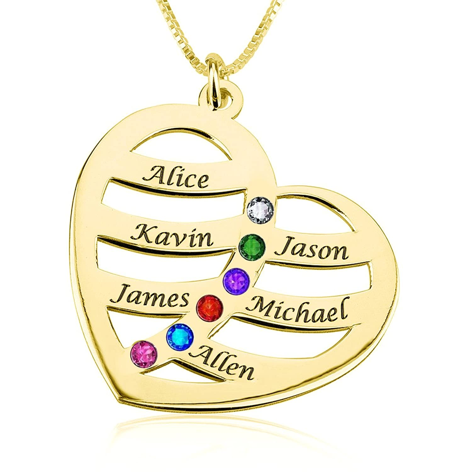 925 Sterling Silver Personalized Heart Family Name Necklace with Birthstone Custom Made with Any Names