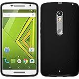PhoneNatic Custodia Motorola Moto X Play Cover nero S-Style Moto X Play in silicone + pellicola protettiva