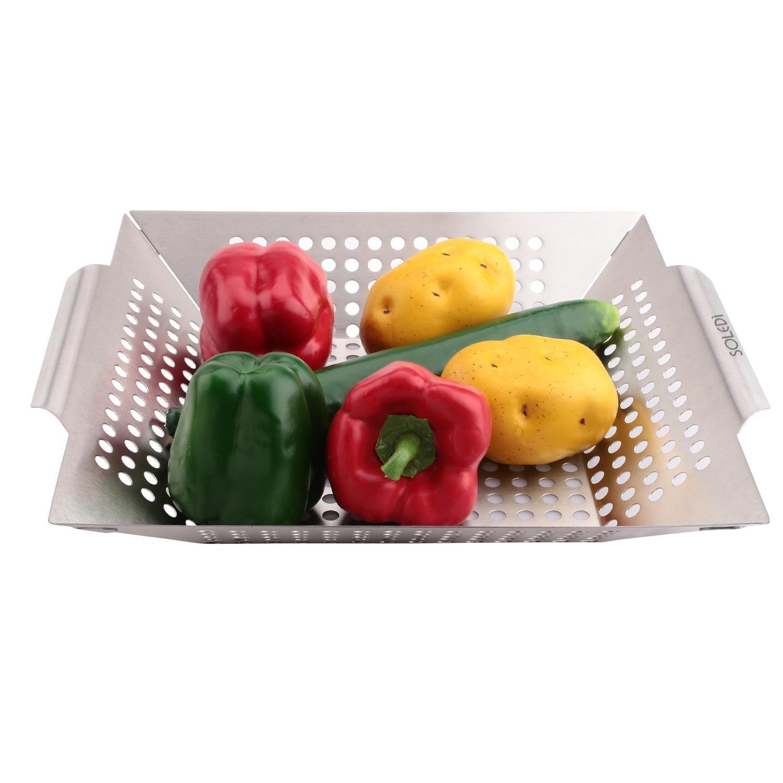soledi Premium Barbacoa Cesta Verduras Carcasa verduras cesta de acero inoxidable 35?x 31?x 5,5?cm
