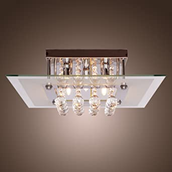 Saint Modern Crystal Droplet Rain Drop Chandelier Flush Ceiling Lights For Living Room Bedroom