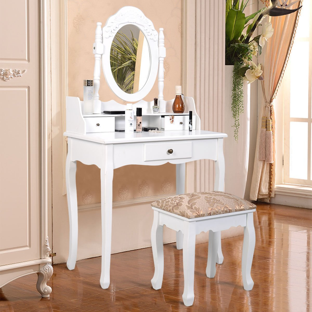 Mascarello®Vanity Table Jewelry Makeup Desk Bench Dresser w/ Stool 3 Drawer White