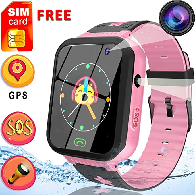 [Free SIM Card]Upgrade Kids Smart Watch Phone, GPS Tracker Watch SOS Voice Chat for 3-12 Years Old Boys Girls Waterproof Smartwatch Anti-Lost ...
