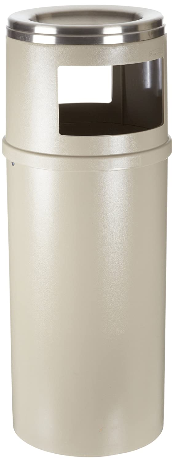 Rubbermaid Commercial Smokers Station Trash Cans, Beige, 25-Gallon