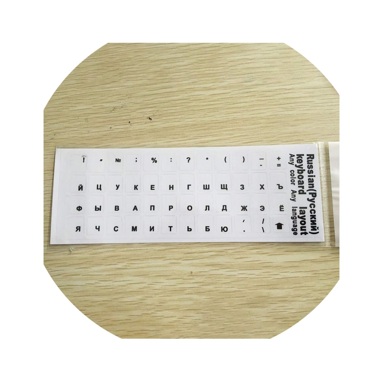 Adesivo per tastiera russa compatibile con Mac Book Laptop PC tastiera tastiera layout standard lettere coperture tastiera pellicola russa Nero
