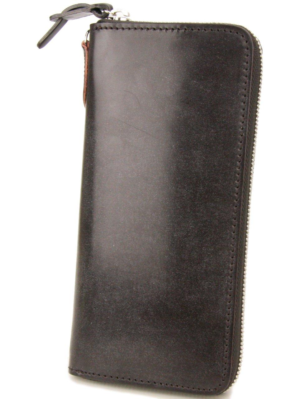 [コルボ] CORBO. 長財布 1LD-0223 アコーディオン型 ラウンドファスナー フェイス ブライドルレザー face Bridle Leather B0044DN8CQ ダークブラウン ダークブラウン