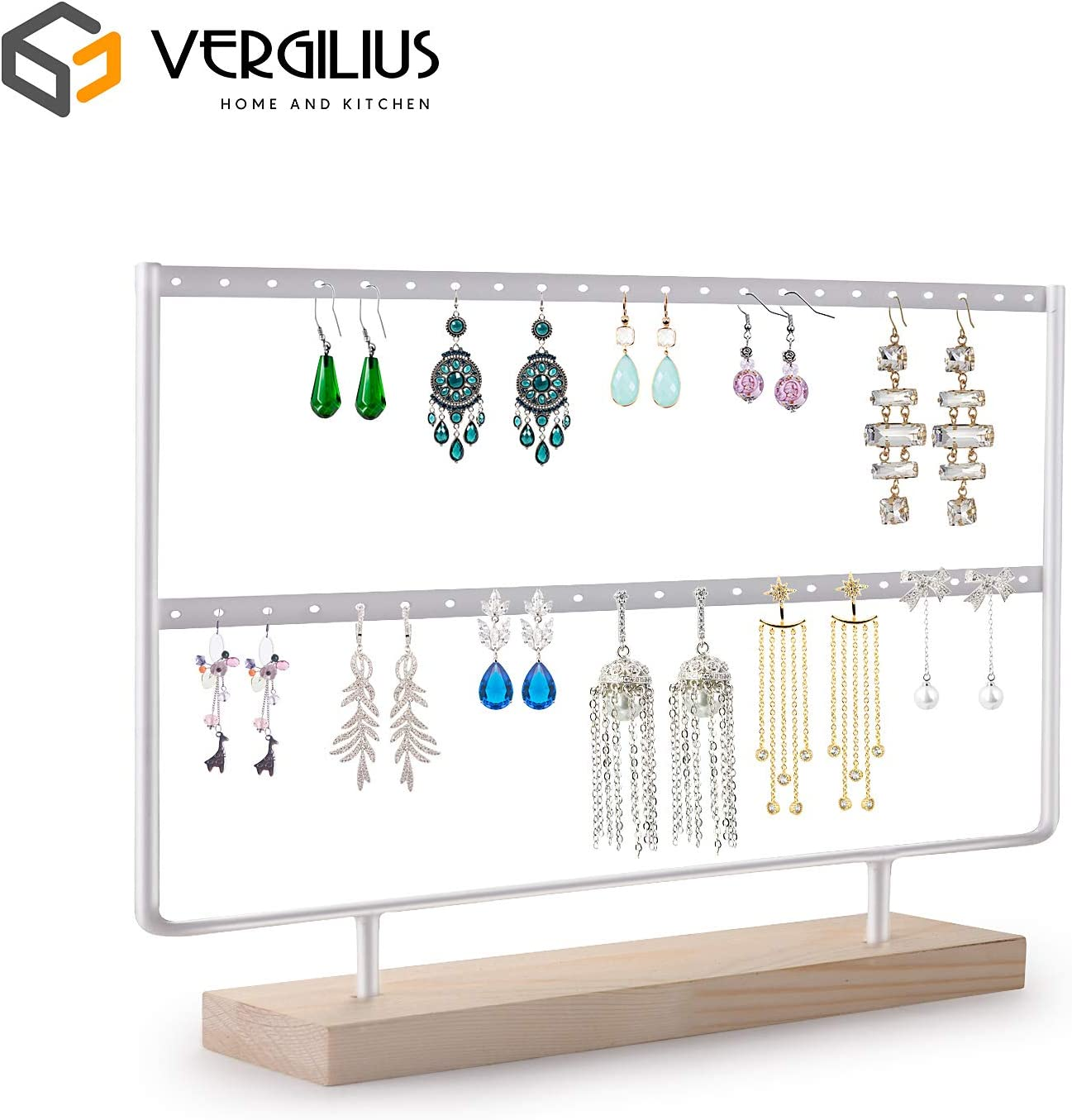 Amazon Com Vergilius Earrings Organizer Jewelry Holder Display Wood Stand White Home Kitchen