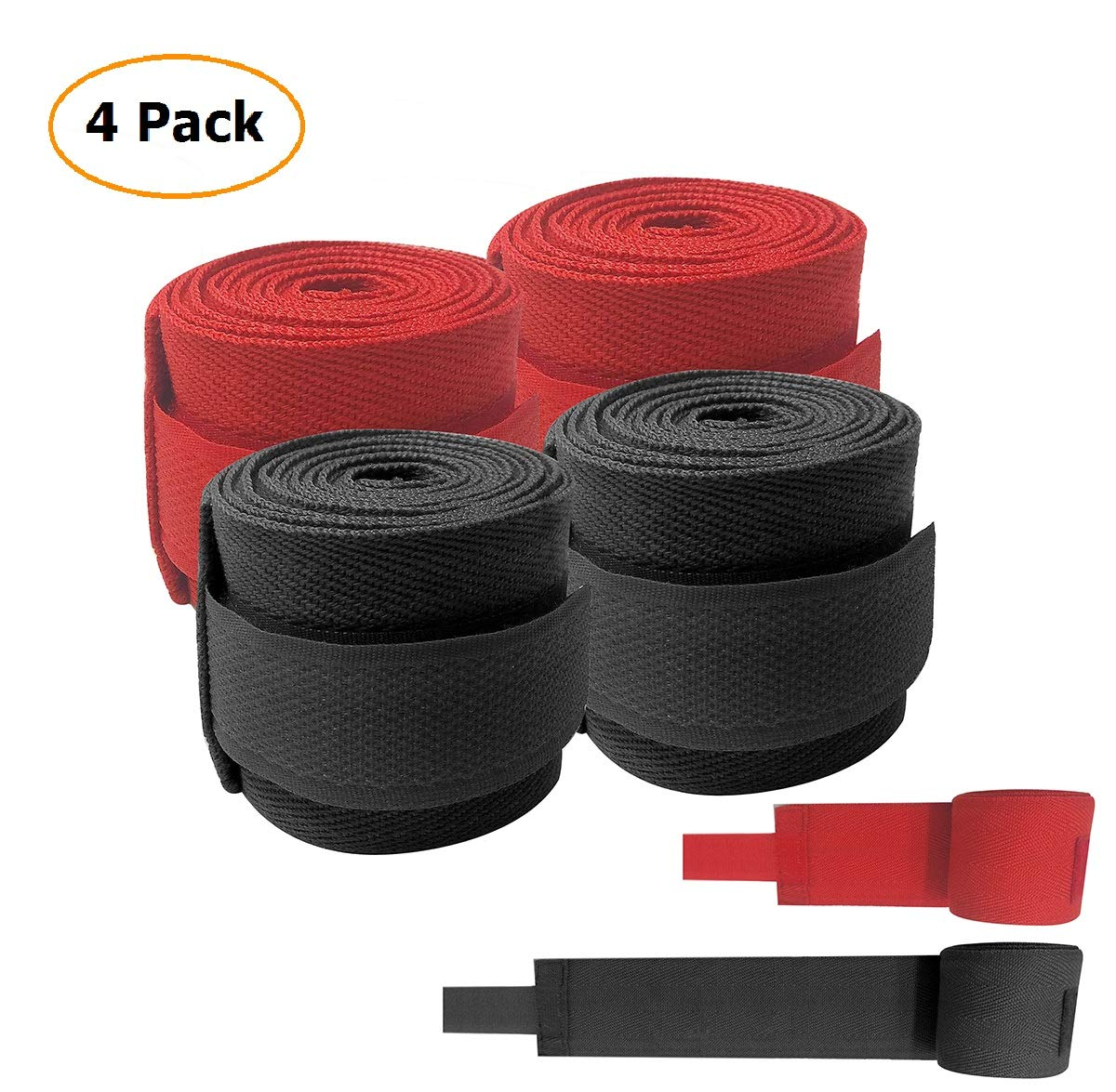 ZOSEN Vendaje de boxeo, muñequeras de algodón para boxeo, Muay Thai Taekwondo Sanda lucha 2,5 metros, 2 pares (negro y rojo)
