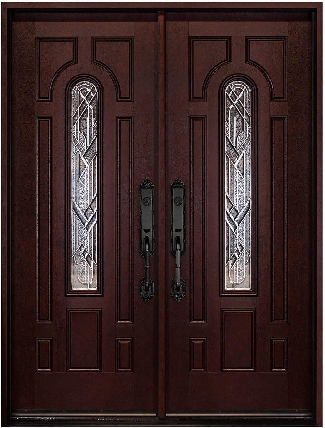 Double Door Fiberglass Prehung Front Door with Brickmould (Left-Hand, Double Doors 30x30x80)