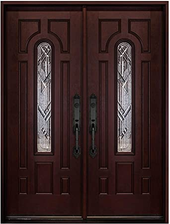 Double Door Fiberglass Prehung Front Door With Brickmould Left Hand Double Doors 30x30x80 Amazon Com