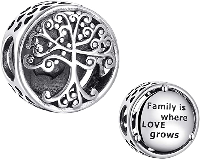 Evescity 925 Silver Family Tree Quote Family Is Where Love Grows Sterling Charm Bead Pendant For Charms Bracelets Best Jewelry Gifts For Her Holiday Women Family Wife Bff Birthday Clothing