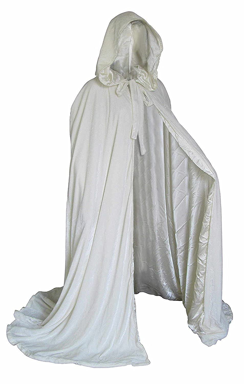 White Velvet Halloween Hooded Cloak Medieval Long Cape Robe Cosplay: Amazon.co.uk: Clothing