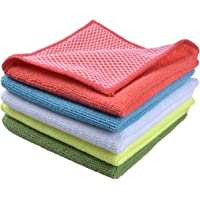 """SINLAND 5 Color Assorted Microfiber Dish Cloth Best Kitchen Cloths Cleaning Cloths with Poly Scour Side 12""""x12"""" 5 Pack (Pink+Blue+White+Yellow+Green)"""